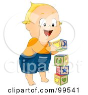 Royalty Free RF Clipart Illustration Of A Baby Boy Stacking Toy Blocks by BNP Design Studio