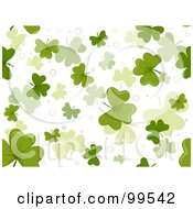 Royalty Free RF Clipart Illustration Of A Seamless Falling Clovers On White Pattern Design Background