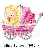 Baby Girl Sitting In A Pink Pram by BNP Design Studio