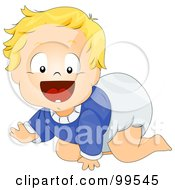 Royalty Free RF Clipart Illustration Of A Baby Boy In A Blue Shirt And Diaper Crawling