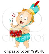 Royalty Free RF Clipart Illustration Of A Baby Boy Drummer by BNP Design Studio