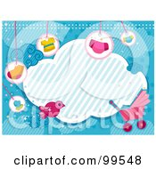 Royalty Free RF Clipart Illustration Of A Cloud Framed With Baby Items Over Blue