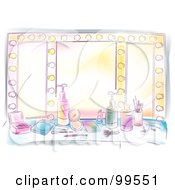 Royalty Free RF Clipart Illustration Of An Artistic Scene Of A Beauty Vanity Table And Lighted Mirror by BNP Design Studio