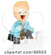 Royalty Free RF Clipart Illustration Of A Baby Businessman Standing On Steps by BNP Design Studio