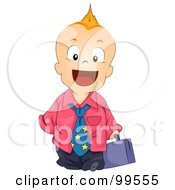 Royalty Free RF Clipart Illustration Of A Baby Boy With A Mohawk Dressed As A Businessman by BNP Design Studio