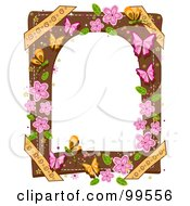 Royalty Free RF Clipart Illustration Of A White Frame Bordered With Butterflies And Pink Flowers by BNP Design Studio
