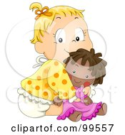 Royalty Free RF Clipart Illustration Of A Cute Baby Girl Hugging Her Doll by BNP Design Studio