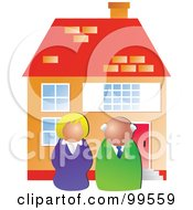 Royalty Free RF Clipart Illustration Of Two Real Estate Agents In Front Of A House