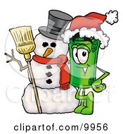 Clipart Picture Of A Rolled Money Mascot Cartoon Character With A Snowman On Christmas by Toons4Biz