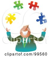 Royalty Free RF Clipart Illustration Of A Happy Businsesman Juggling Puzzle Pieces