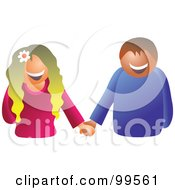 Happy Hippie Couple Holding Hands