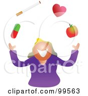 Royalty Free RF Clipart Illustration Of A Woman Juggling Her Health