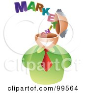 Royalty Free RF Clipart Illustration Of A Businessman With A Marketing Brain