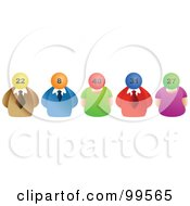 Royalty Free RF Clipart Illustration Of A Line Of Business Men And Women With Lottery Ball Heads by Prawny