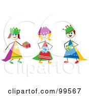 Royalty Free RF Clipart Illustration Of A Stick Children Dressed As The Three Wise Men by Prawny