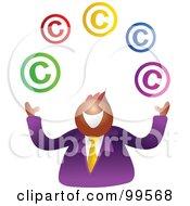 Happy Businsesman Juggling Copyright Symbols