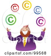 Royalty Free RF Clipart Illustration Of A Happy Businsesman Juggling Copyright Symbols by Prawny
