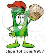 Clipart Picture Of A Rolled Money Mascot Cartoon Character Catching A Baseball With A Glove by Toons4Biz