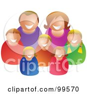 Royalty Free RF Clipart Illustration Of A Happy Caucasian Family Of Seven by Prawny