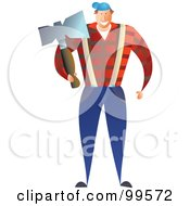 Royalty Free RF Clipart Illustration Of A Male Lumberjack Carrying An Ax
