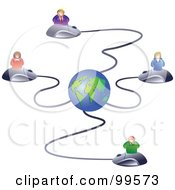 Royalty Free RF Clipart Illustration Of A Business Team On Computer Mice Connected To A Globe by Prawny