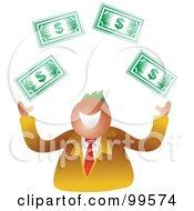 Royalty Free RF Clipart Illustration Of A Business Man Juggling Dollar Bills by Prawny