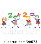 Royalty Free RF Clipart Illustration Of Stick School Children With Numbers by Prawny