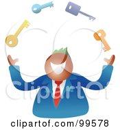 Royalty Free RF Clipart Illustration Of A Happy Businsesman Juggling Keys
