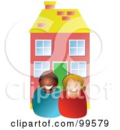 Royalty Free RF Clipart Illustration Of Two Realtors In Front Of A House