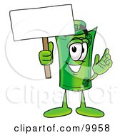 Clipart Picture Of A Rolled Money Mascot Cartoon Character Holding A Blank Sign
