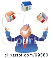 Royalty Free RF Clipart Illustration Of A Happy Businsesman Juggling Houses