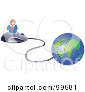Royalty Free RF Clipart Illustration Of A Businessman On A Mouse Connected To A Globe by Prawny