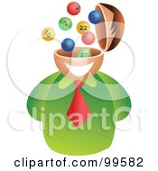Royalty Free RF Clipart Illustration Of A Businessman With A Lottery Brain by Prawny
