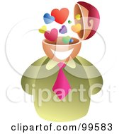 Royalty Free RF Clipart Illustration Of A Businessman With A Love Brain
