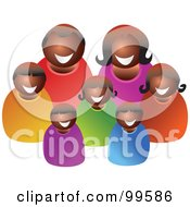 Royalty Free RF Clipart Illustration Of A Happy Black Family Of Seven by Prawny
