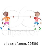 Royalty Free RF Clipart Illustration Of Hispanic Stick Boys Holding A Blank Sign
