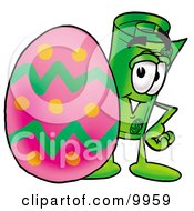 Clipart Picture Of A Rolled Money Mascot Cartoon Character Standing Beside An Easter Egg