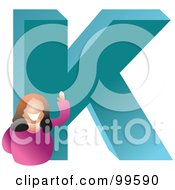 Royalty Free RF Clipart Illustration Of A Woman With A Large Letter K