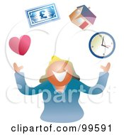 Royalty Free RF Clipart Illustration Of A Business Woman Juggling Life Symbols