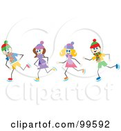 Royalty Free RF Clipart Illustration Of Stick Children Ice Skating