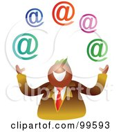 Royalty Free RF Clipart Illustration Of A Businessman Juggling Email Symbols by Prawny