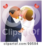 Royalty Free RF Clipart Illustration Of A Romantic Wedding Couple Kissing At Their Ceremony by Prawny