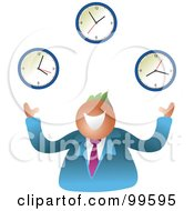 Royalty Free RF Clipart Illustration Of A Happy Businsesman Juggling Clocks by Prawny