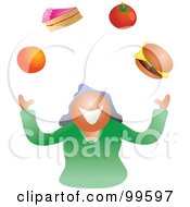 Royalty Free RF Clipart Illustration Of A Woman Juggling Foods