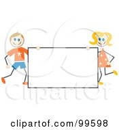 Royalty Free RF Clipart Illustration Of Stick Children Holding A Blank Sign