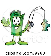 Clipart Picture Of A Rolled Money Mascot Cartoon Character Holding A Fish On A Fishing Pole by Toons4Biz