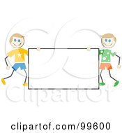 Royalty Free RF Clipart Illustration Of Caucasian Stick Boys Holding A Blank Sign