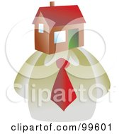 Royalty Free RF Clipart Illustration Of A Businessman With A House Face