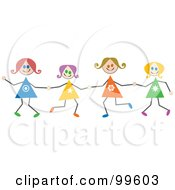 Royalty Free RF Clipart Illustration Of Caucasian Stick Girls Holding Hands
