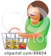 Royalty Free RF Clipart Illustration Of A Happy Woman Carrying A Shopping Basket by Prawny